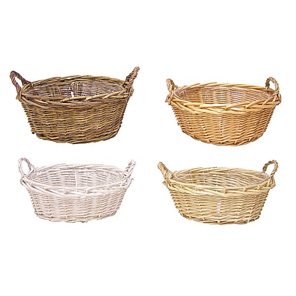 10 in. Round Willow Basket w/Handles Assorted And Liner (4 Styles)