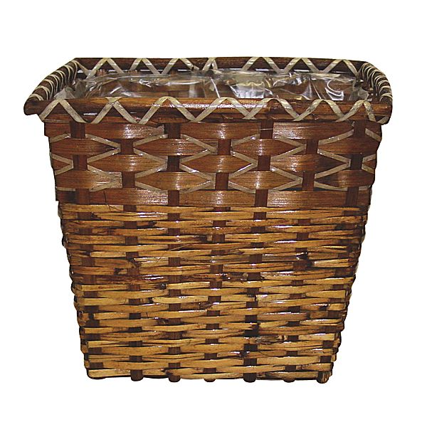 12 in. x 12 in. Square Brown Rattan Basket w/Sewn In Liner