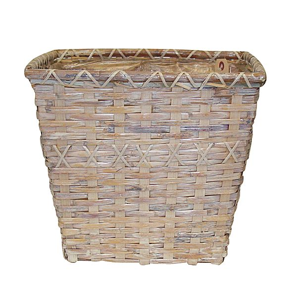 12 in. x 12 in. Square White Wash Woven Basket-Poly w/Sewn In Liner
