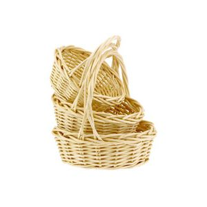 Set/3 Round Bleached Willow Baskets