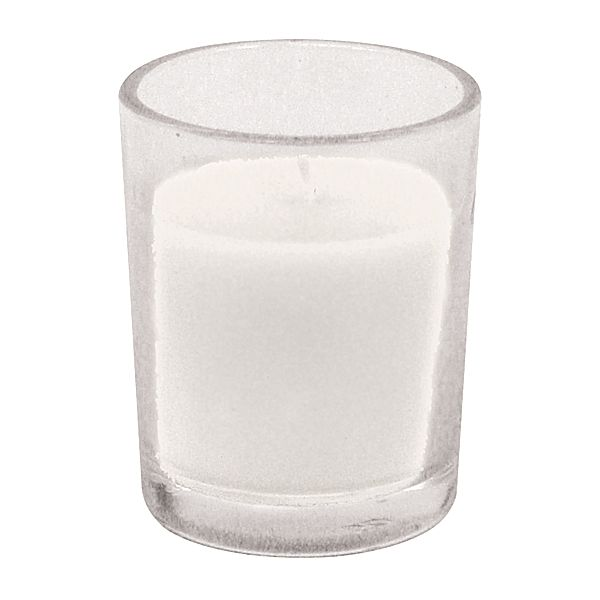 2.5 in. H x 2 in. Op.,Round 10 Hour White Votive Candle in Glass