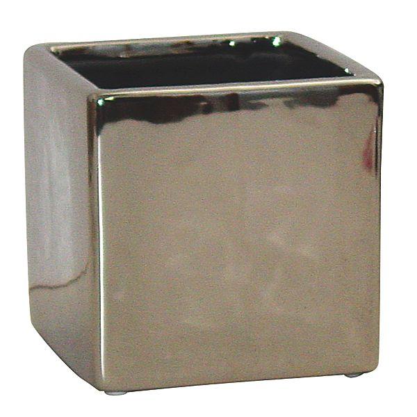 5in Square Metallic Silver Ceramic Cube Vase Metallic Ceramic