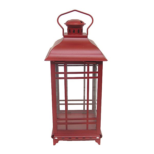 Antique Red Metal Gl Craftsman Lantern With Hanger