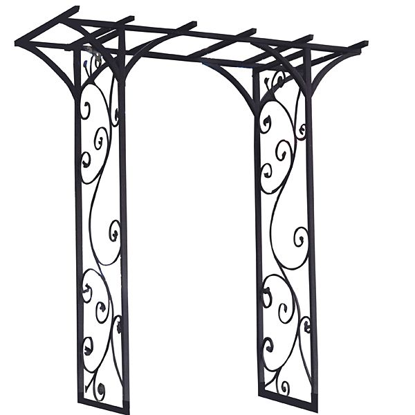 84in x 76in with Black Metal Garden Arbor Arch with Vines - Wedding ...