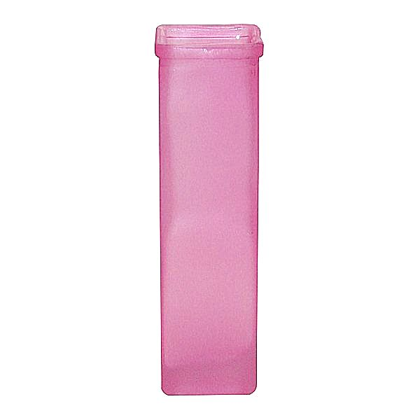 7.5 in. H. x 1.75 in. Op., Square Heavy Pink Frost Round Lip Bud Vase