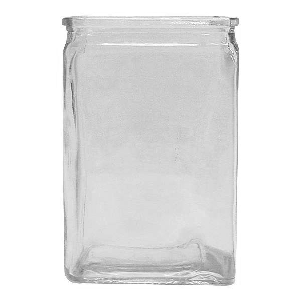 3 in. W. x 4 in. L. x 6 in. H. Clear Rectangle Heavy Glass Vase