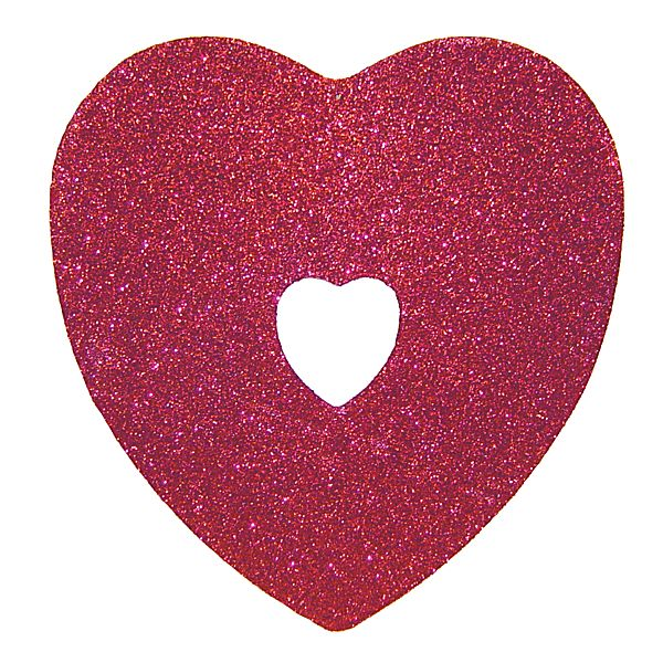 10 1/4 in. Red Glittered Heart Cut Out Heart Center & Hanger