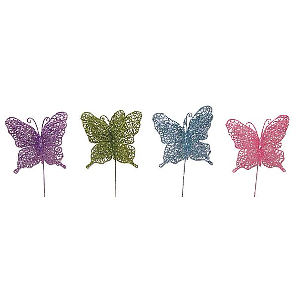 5 in. Pastel Glitter Filagree Butterfly on 14 in. Pick, 4 Assorted