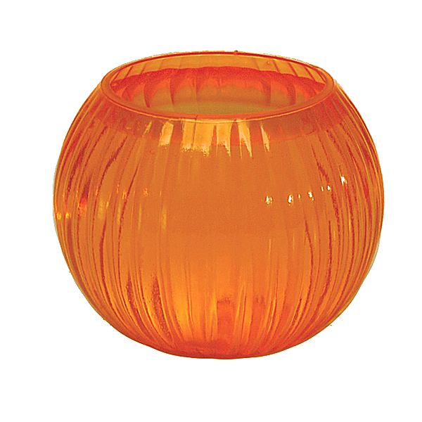 5.5 in. Rnd. x 3.75 in. Op., Poly-Glass Orange Rose Bowl