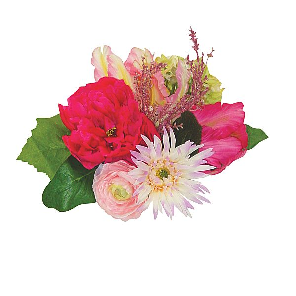 10 in. Pink/Green Rose/Hydrangea/Tulip/Zinnia Bouquet x16
