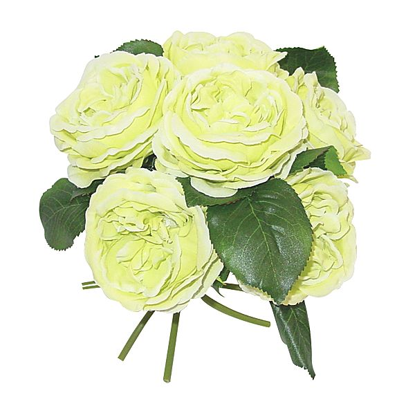 10 in. Green English Garden Rose Bouquet x6