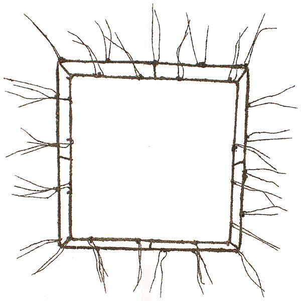 20 in. Square Metallic Wreath Form w/Random Outline Design Moss & Twigs X30