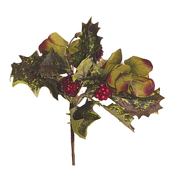 Pine cone berries eucci holly leaves on pick flower cluster picks