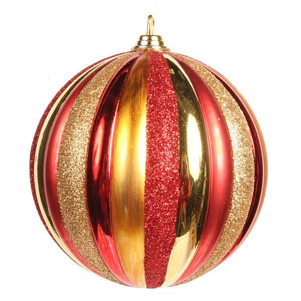 Mm red gold vertical stripe ornament glitter ball