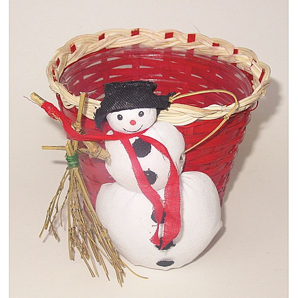 5 in. x 4.5 in. Red Bamboo Basket w/White Braided Trim/Snowman & Liner