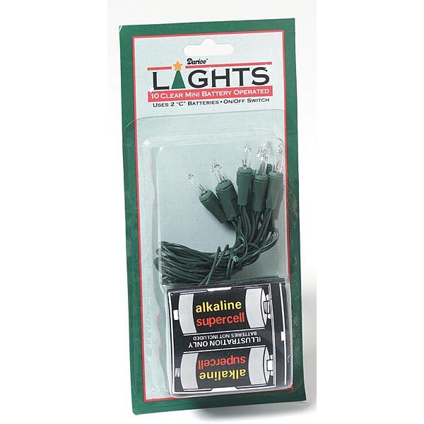10 light battery operated green cord for indoor use only