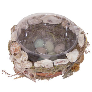 6 in. Seashell Basket Nest w/Eggs and Liner