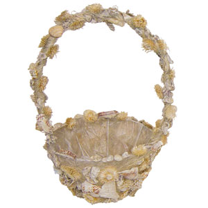 14.5 in. Hi. x 7.5 in. Dia., Seashell Basket w/Liner