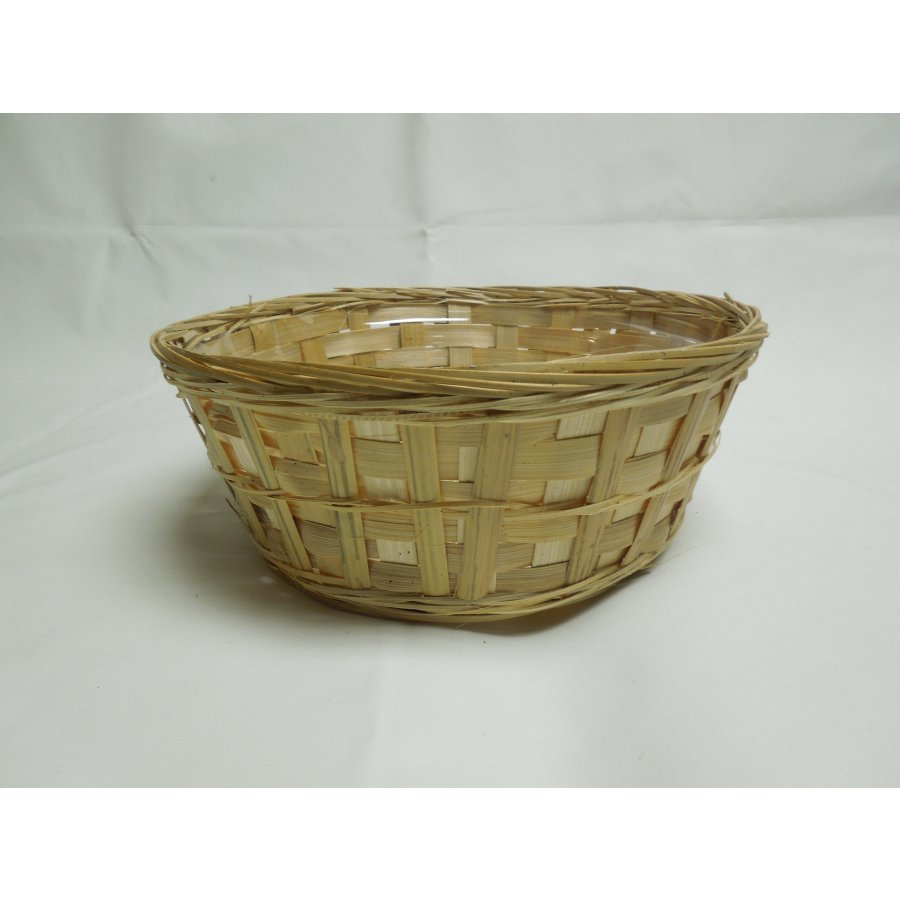 10 in. D x 4.5 in. H. Vertical Bamboo Bowl w/Hard Liner