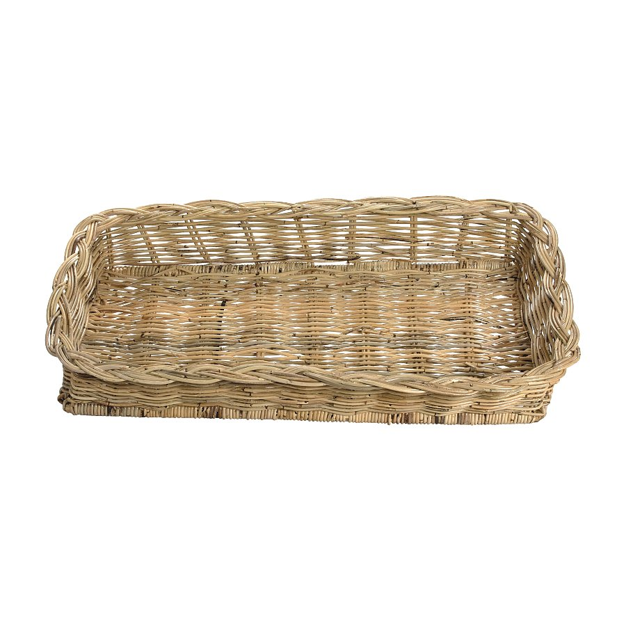 Rectangle Natural Rattan Tray w/ Wide Rim 38 in. L x 17.5 in. W. x 7 in. H.