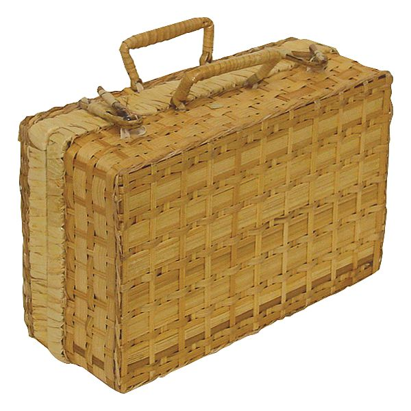 18 in. x 14 in. x 7.5 in. Bamboo/Palm Leaf Suitcase