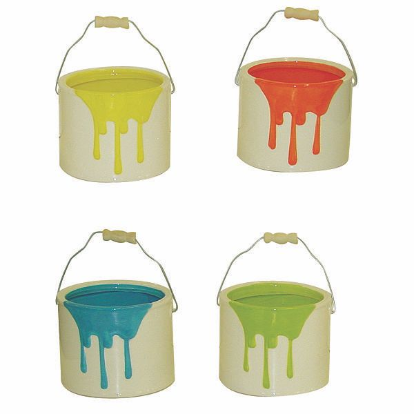 4in Cermic Paint Bucket Wrips And Handle Assorted