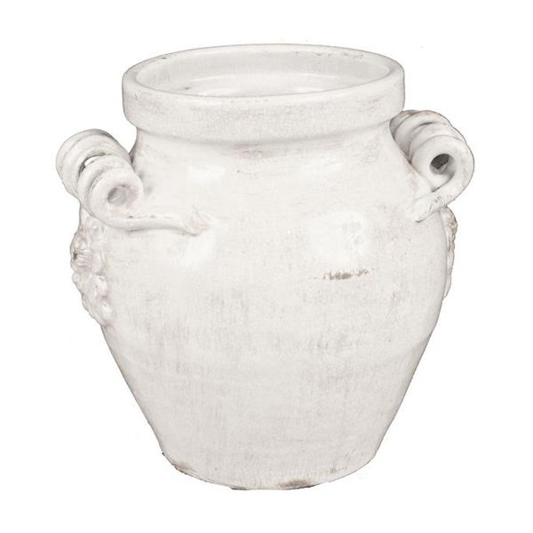 975 In H X 5 In Open Antique White Crackle Ceramic Vase W