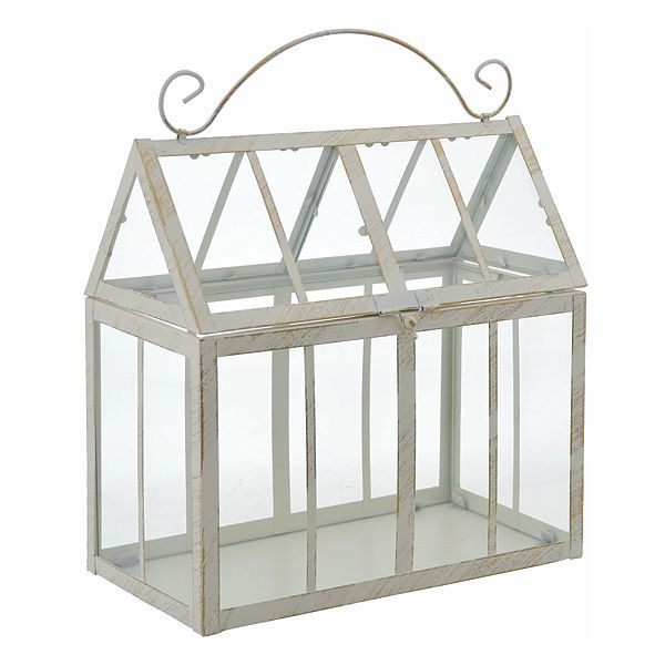 12 In Lx6 5 In W X 13 In H Cream Metal Glass Terrarium W