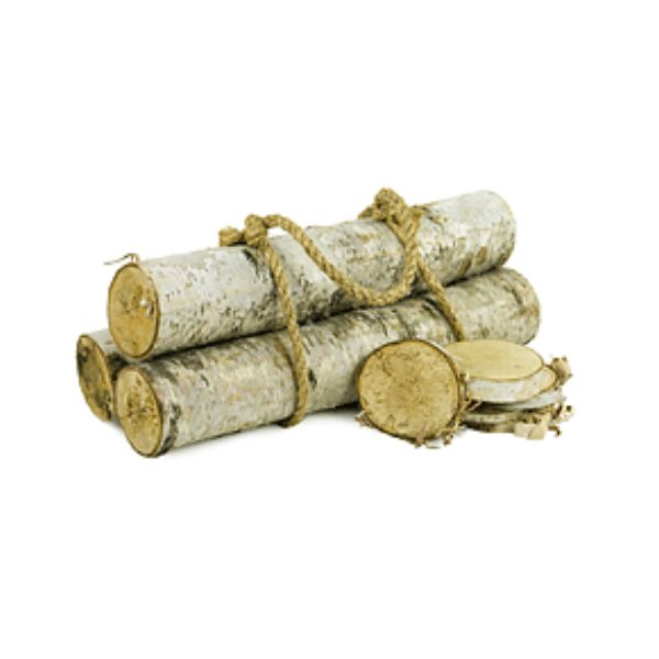 18 in. Birch Log Set x3 w/Rope Handle