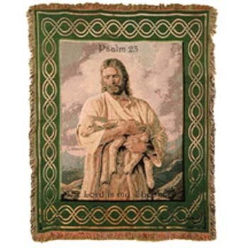 4 ft. x 5 ft. The Lord Is My Shepard Afghan w/Frayed Edge