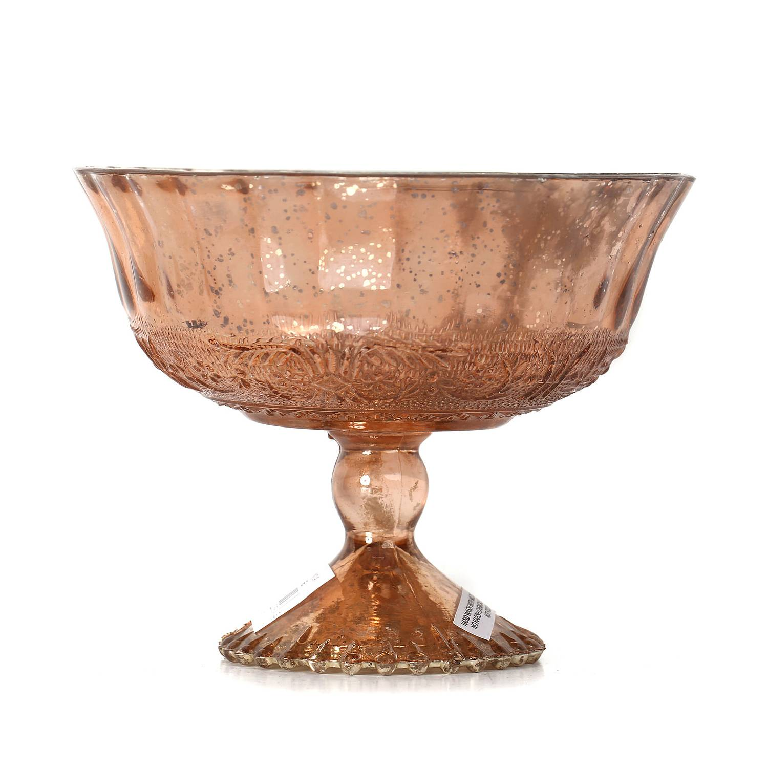 55 In H X 65 In D Copper Mercury Glass Embossed Pedestal Bowl