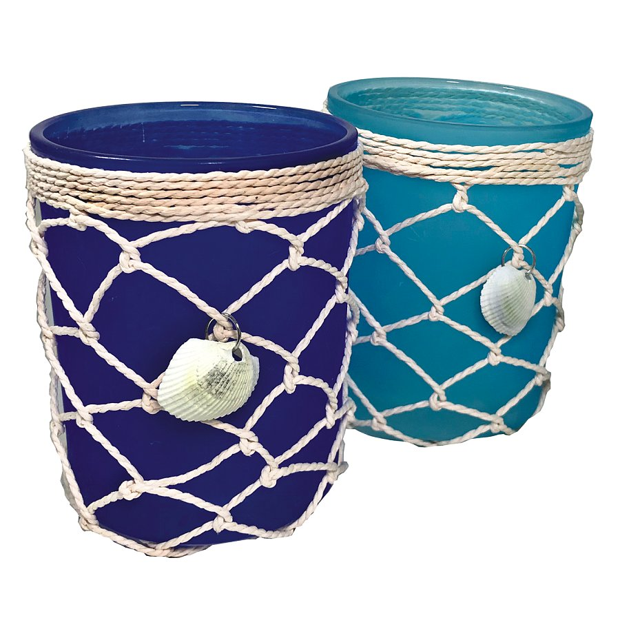 3.5 in. Dia. X 5 in. H. Blue Nautical Cylinder W/Net/Shell Wrap 2 Asst.