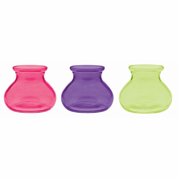 3.5 in. D. x 5 in. H. Rosy Posie Vase Purple, Lime & Pink