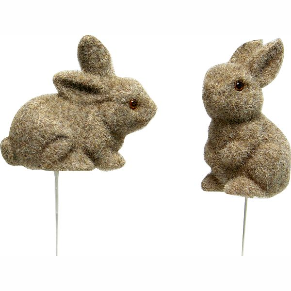 4 in.  Gray/Brown Flocked Bunny On 6 in. Wire Pick