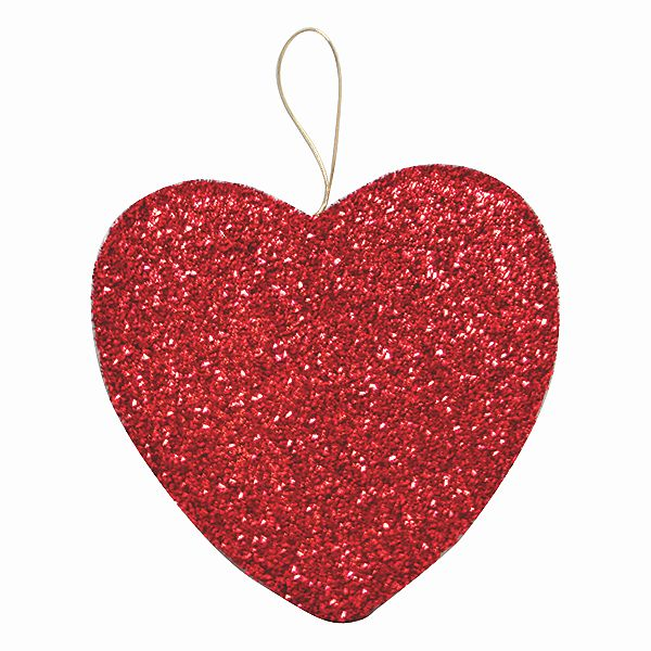 10 In. Red Tinsel Heart W/Hanger