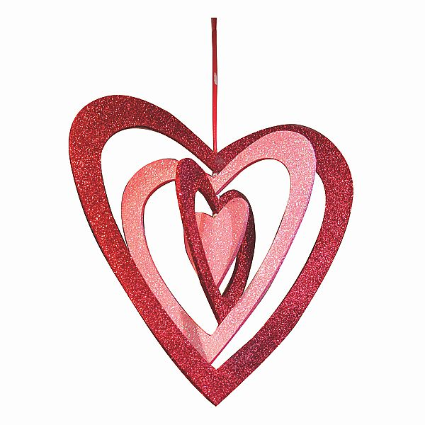 11.5 In. x 12 In. Glitter Red/Pink Heart Mobile W/Ribbon
