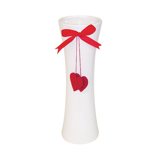 12 in. H. x 3.5 in. O.  Happy Hearts Vase White Ceramic w/Red Bow & Hearts