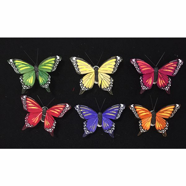 3 in. Painted Feathered Butterfly On Wire, 6 Assorted