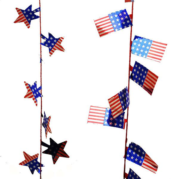 25 ft. Red/White/Blue America Flag/Star Garland, 2 Assorted