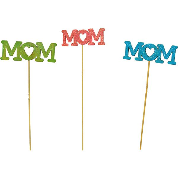 18 in. Oval Glitter Mom Pick 3 Assorted