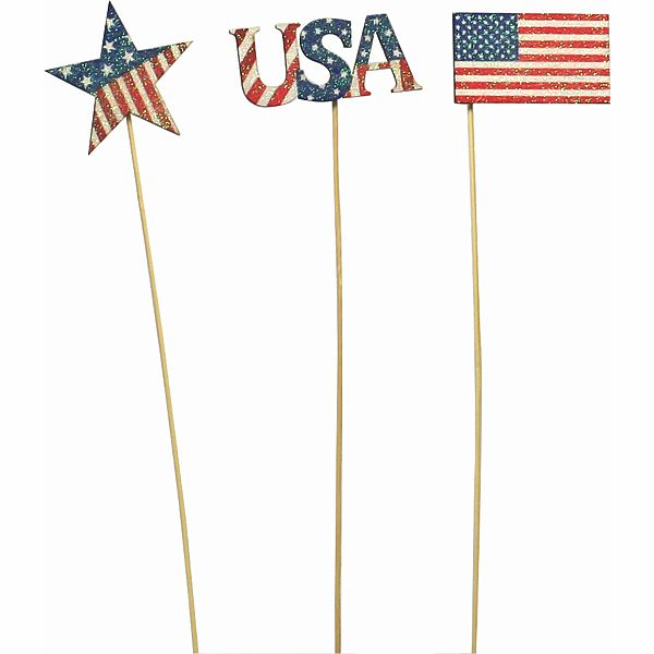 18 in. Glitter Rd/White/Blue Patriotic Pick 3 Assorted