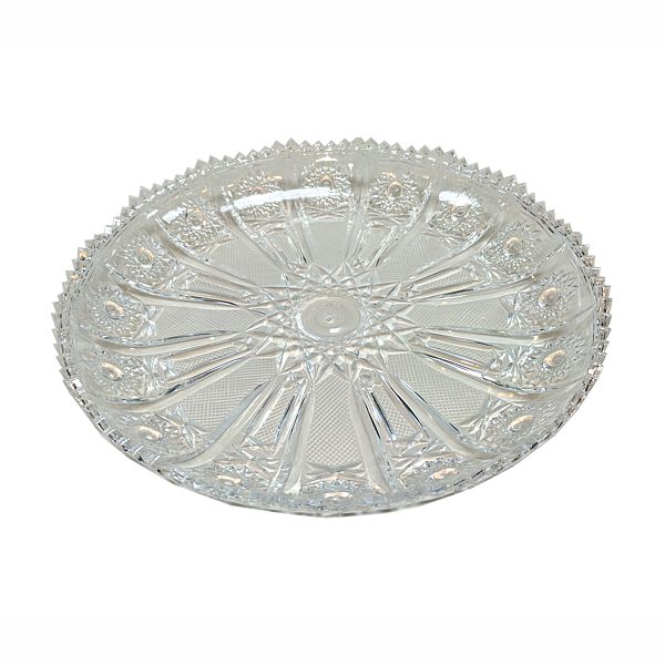 11.5 in. Dia. X 1.5 in. High Round Clear Embossed Design Plastic Dish