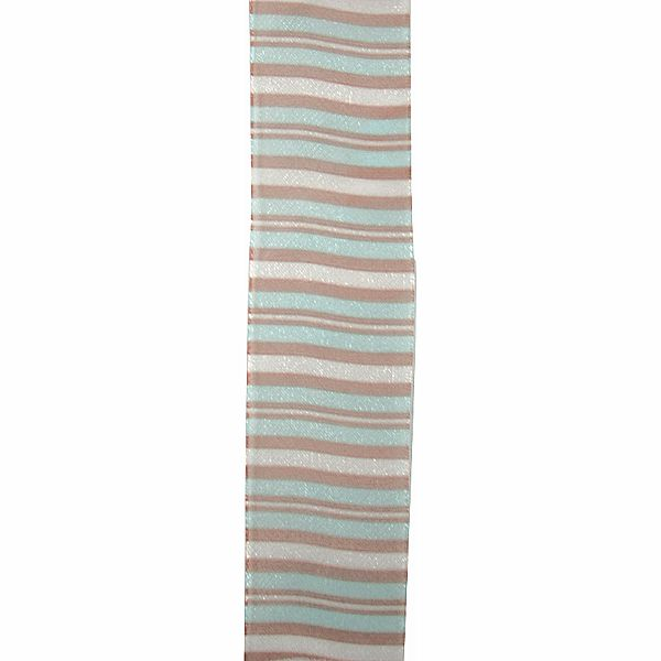 9 Bristol Aqua Mauve Chocolate Stripe Ribbon