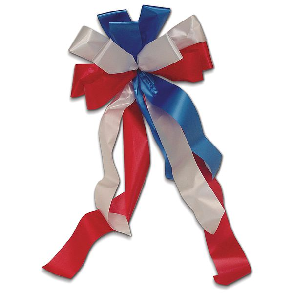 #40 Premade Flora Satin, Weather Resistant - 2 1/4 in. 11 Loop Bows Red/White/Blue Bow