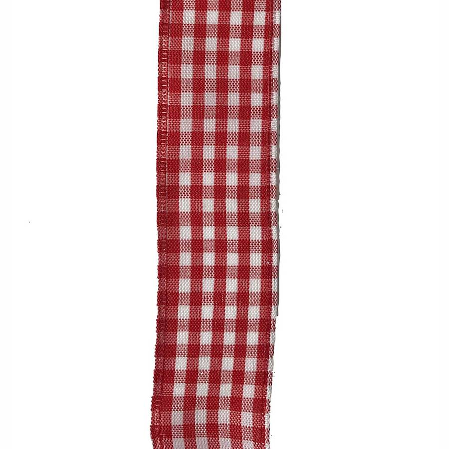 #9 Wired Red/White Gingham Check Ribbon [50 Yards)