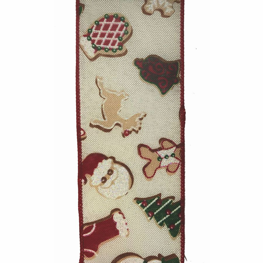 2.5 in. x 10 yd. Christmas Cookies Print Ribbon