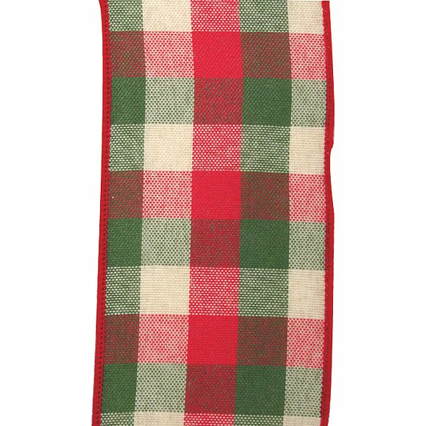 40 country christmas plaid redgreenbeige wired ribbon