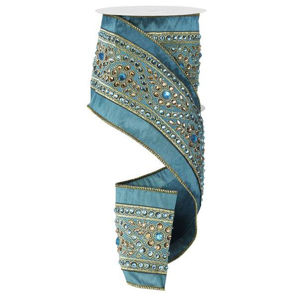4 In. X 5 Yd. Wired Turquoise Dupioni W/Imperial Stones