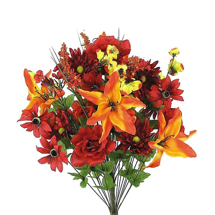 Lily/Rose/Gerbera Red/Orange Giant Mixed Bush