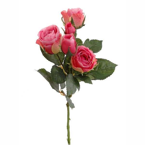 15 in. Pink Rose Spray w/3 Flowers & 2 Buds